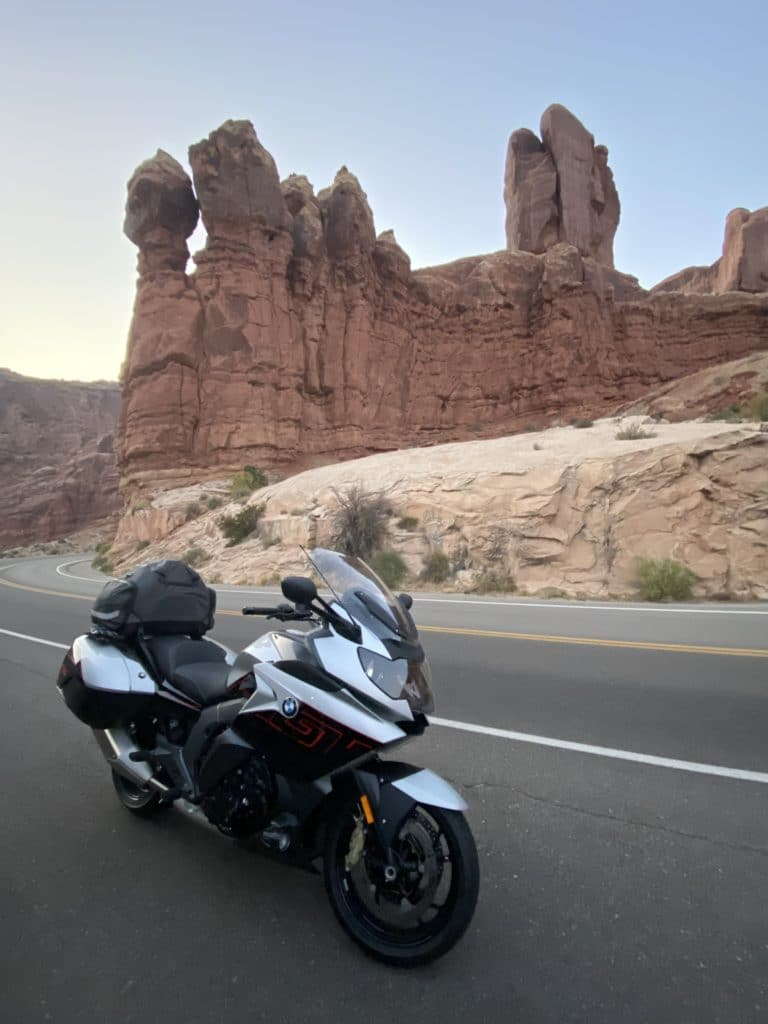 Brilliant's Motorcycle in front of Red Rocks
